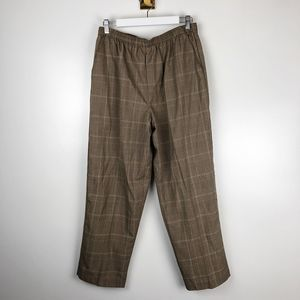 Vintage High Waisted Plaid Pull On Pants Pockets